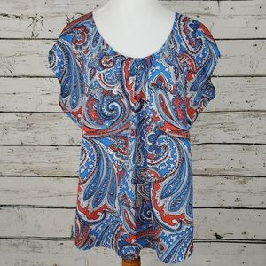 NY & Co Paisley Red White & Blue Blouse
